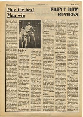 Man Family ANGE BACK DOOR Gig reviews Vintage Music Press Article/cutting/clipping 1973