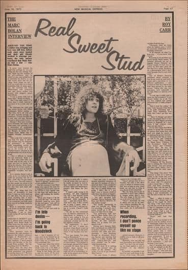 Marc Bolan Real Sweet Stud Interview Music Press Article/cutting/clipping 1973