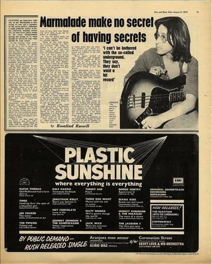 Marmalade Graham Knight Interview Vintage Music Press article cutting/clipping 1970