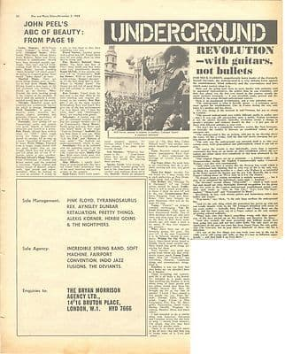Mick Farren THE DEVIANTS Pink Floyd AD Vintage Music Press article/cutting/clipping 1968
