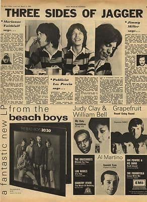 Mick Jagger Rolling Stones Vintage Music Press article/cutting/clipping 1969