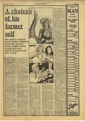Mick RonsonInterview Vintage Music Press Article/cutting/clipping 1973