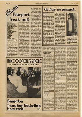 Mike Oldfield Budgie JIM CAPALDI Vintage Music Press Article/cutting/clipping 1974
