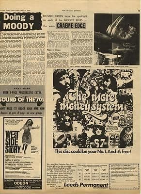 Moody Blues Graham Edge Vintage Music Press article/cutting/clipping 1970