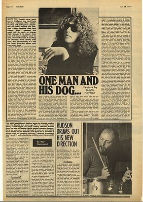 Mott The Hoople IAN HUNTER Interview Vintage Music Press Article/cutting/clipping 1973
