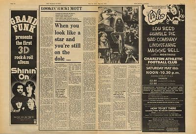 Mott The Hoople Ian Hunter 2p Interview Vintage Music Press Article/cutting/clipping 1974