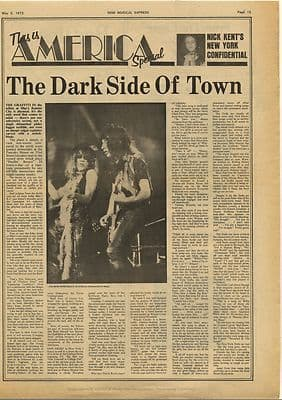 NEW YORK SCENE New York Dolls Vintage Music Press Article/cutting/clipping 1973