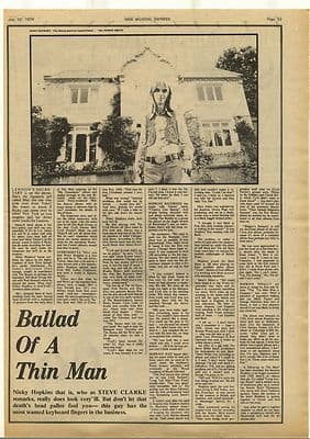 NICKY HOPKINS Interview Vintage Music Press Article/cutting/clipping 1974