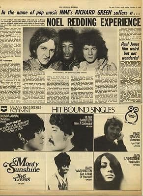 NOEL REDDING Interview Vintage Music Press article/cutting/clipping 1968
