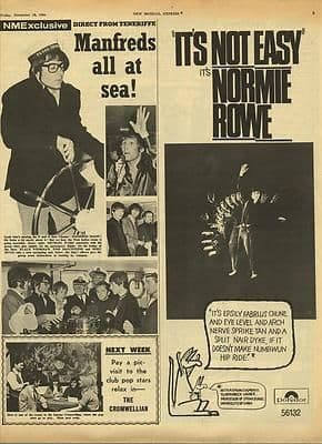 NORMIE ROWE advert MANFRED MANN pics Original Vintage music Press cutting/clipping 1966
