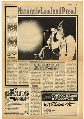 Nazareth Loud and Proud Interview Vintage Music Press Article/cutting/clipping 1973