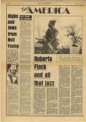 Neil Young ROBERTA FLACK Vintage Music Press article/cutting/clipping 1973