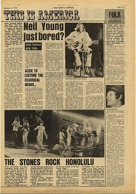Neil Young Rolling Stones Vintage Music Press Article/cutting/clipping 1973