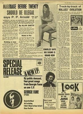 P.P. ARNOLD & Hollies LP review Vintage Music Press article/cutting/clipping 1967