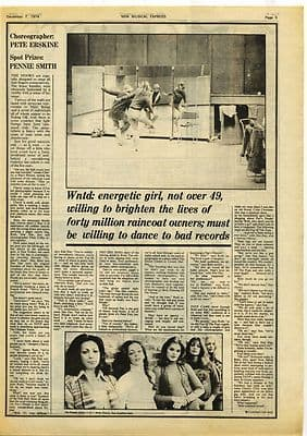PANS PEOPLE 1½ page Interview Music Press article/cutting/clipping 1974