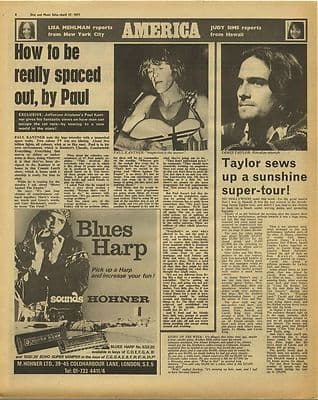 PAUL KANTNER JAMES TAYLOR Vintage Music Press Article/cutting/clipping 1971