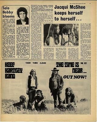 PENTANGLE KEEF HARTLEY Vintage Music Press article/cutting/clipping 1970
