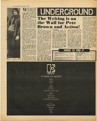 PETE BROWN Battered Ornaments Vintage Music Press Article/cutting/clipping 1968