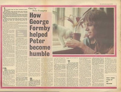 PETER FRAMPTON Interview centre pages Vintage Music Press article/cutting/clipping 1971