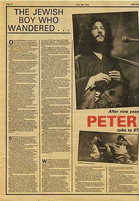PETER GREEN 3 Page Interview Music Press article/cutting/clipping 1979