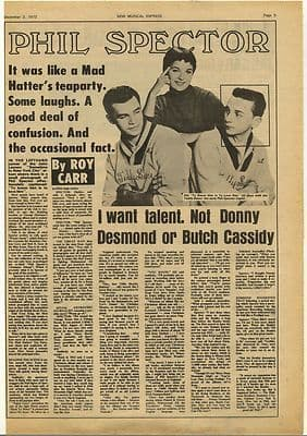 PHIL SPECTOR Vintage Music Press Article/cutting/clipping 1972