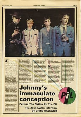 PIL Public Image John Lydon 4 page Interview Press article/cutting/clipping 1978