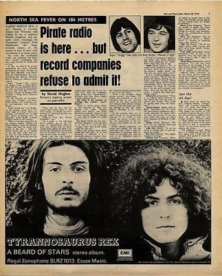 PIRATE RADIO Article T REX Advert Vintage Music Press article/cutting/clipping 1970