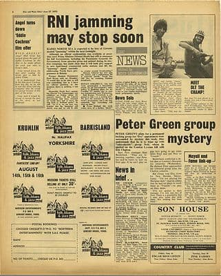 PIRATE RADIO RNI PETER GREEN Vintage Music Press Article/cutting/clipping 1970