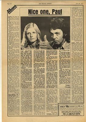 Paul McCartney Red rose speedway review Vintage Music Press Article/cutting/clipping 1973