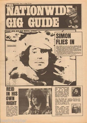 Paul Simon Gig Guide cover 1973 Music Press cutting/clipping