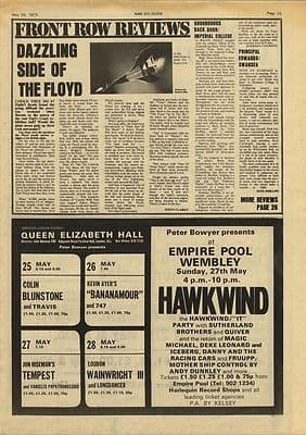 Pink Floyd Earls Court review Vintage Music Press article/cutting/clipping 1973