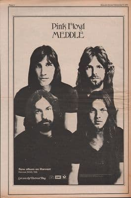 Pink Floyd Meddle Poster Size Original Vintage music Press cutting/clipping LP advert 1971