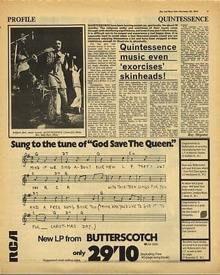 QUINTESSENCE Music exorcises Vintage Music Press Article/cutting/clipping 1970
