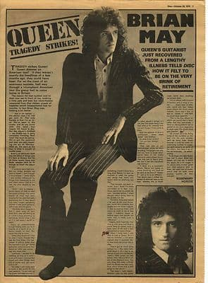 Queen BRIAN MAY Interview Music Press article/cutting/clipping 1974
