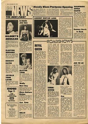Queen Golden Earring ACE live Vintage Music Press article/cutting/clipping 1974
