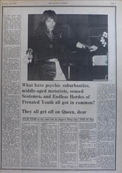Queen Julie Webb 1½ page Music Press Article/cutting/clipping 1974