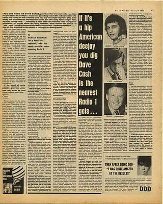 RADIO ONE 1 Reporter spends week at R1 Vintage Music Press Article/cutting/clipping 1970