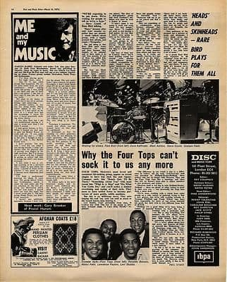 RARE BIRD MARTIN BARRE FOUR TOPS Vintage Music Press article/cutting/clipping 1970