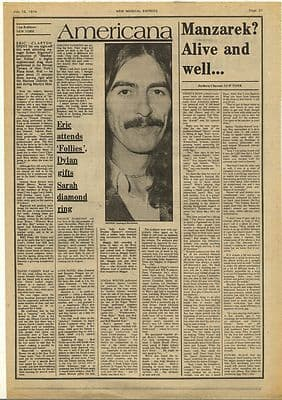 RAY MANZAREK Interview Vintage Music Press Article/cutting/clipping 1974