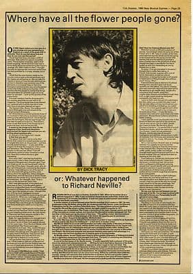 RICHARD NEVILLE Oz 1 page Interview Music Press article/cutting/clipping 1980