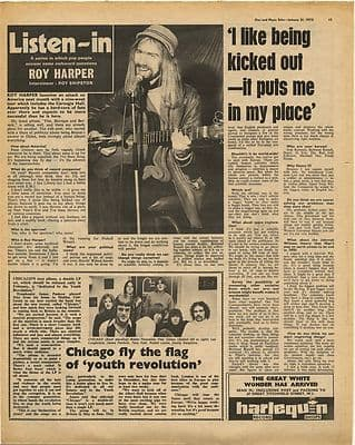 ROY HARPER Interview Vintage Music Press Article/cutting/clipping 1970