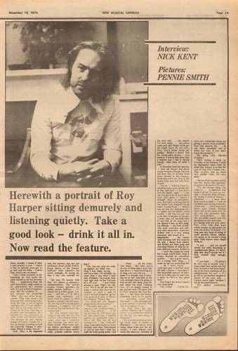 ROY HARPER Nick Kent Interview 1974 UK 1.5 Page Feature Music cutting/clipping