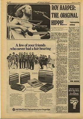 ROY HARPER The Original Hippie Vintage Music Press Article/cutting/clipping 1973