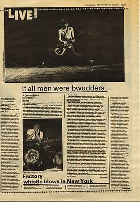 Ramones NEW ORDER CERTAIN RATIO Live reviews Press article/cutting/clipping 1980