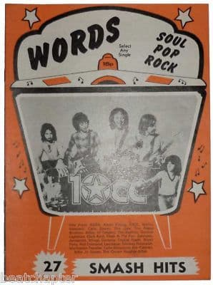 Record Song Book WORDS Magazine 10cc 1-10-1978