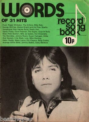 Record Song Book WORDS Magazine David Cassidy 1-9-1975