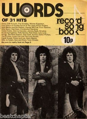 Record Song Book WORDS Magazine LEO SAYER 1-11-1975