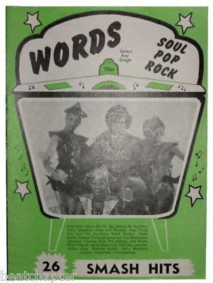 Record Song Book WORDS Magazine NEW SEEKERS 1-9-1978