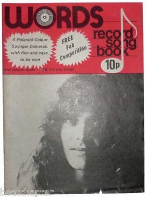 Record Song Book WORDS Magazine PETER FRAMPTON 1-8-1976