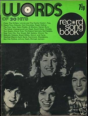 Record Song Book WORDS Magazine PETER FRAMPTON 1-9-1973